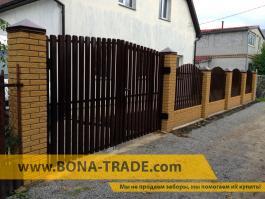 Ворота распашные зашивка штакетный забор