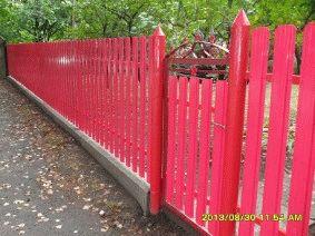 Малиновый штакетный забор_2