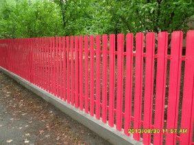 Малиновый штакетный забор_4