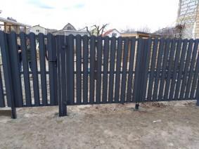 калитка и ворота с зашивкой штакетом Стандарт 7024 матовый